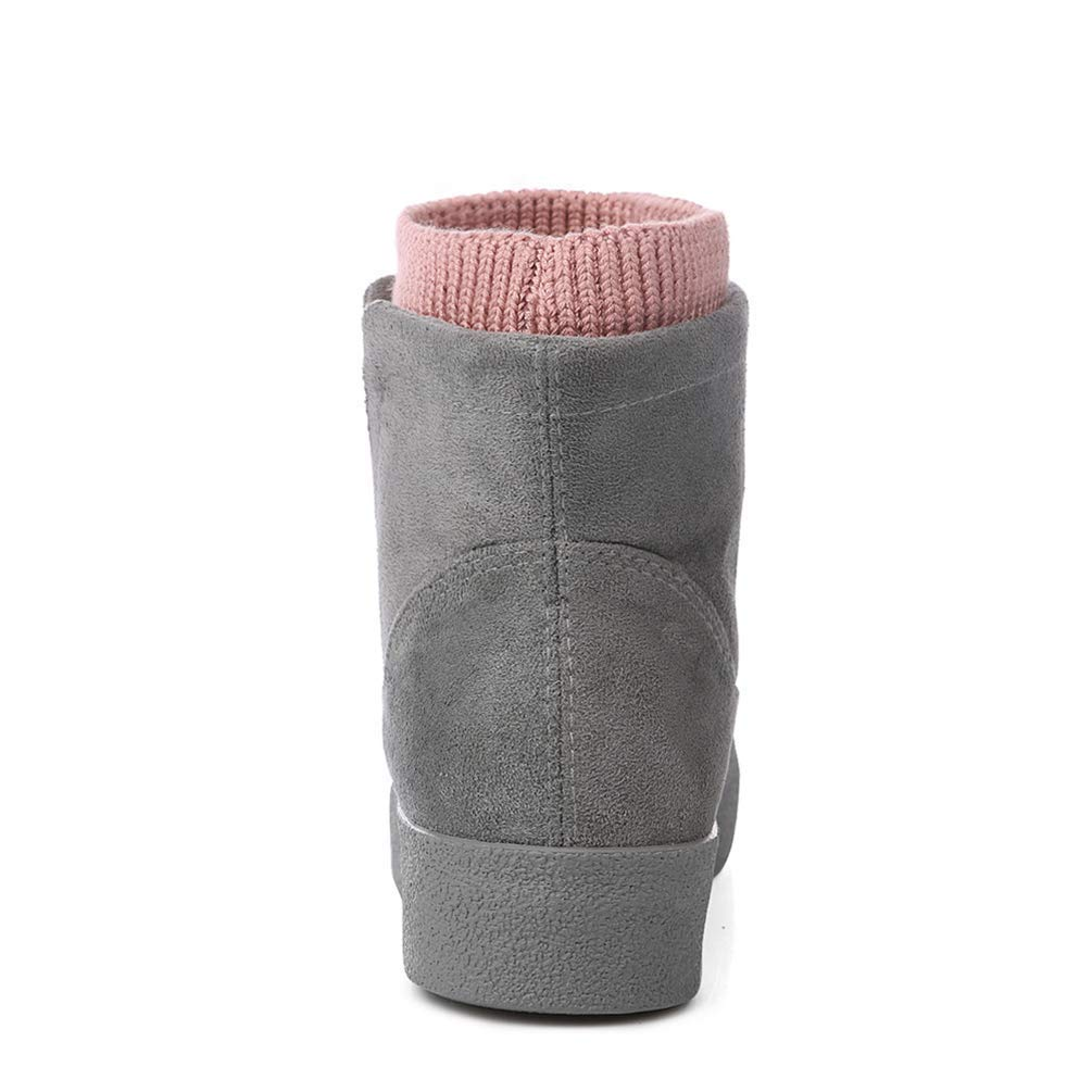 ZHRUI Hochhackige Frauen Stiefel Mode Flock Hochhackige ZHRUI Plattform Knöchel Up High Heels Schuhe (Farbe   Grau, Größe   3=35 EU) 32a867