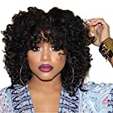 Curly Black Wig Short Curly Afro Wigs for Black Women Big Fluffy Curly Wig Short Cut Wigs Fluffy Natural Wavy Synthetic Hair Full Wigs Afro Wig Cosplay