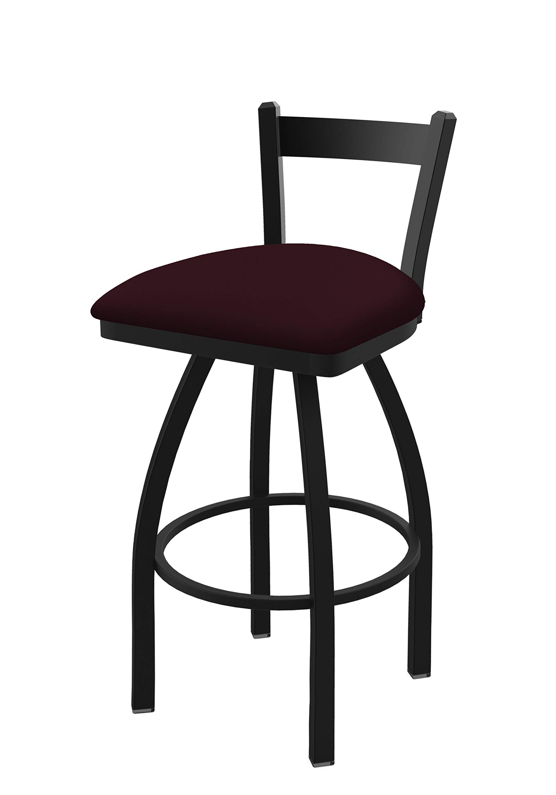 Holland Bar Stool Co. 82125BW005 821 Catalina 25'' Low Back Swivel Counter Black Wrinkle Finish and Canter Bordeaux Seat Bar Stool