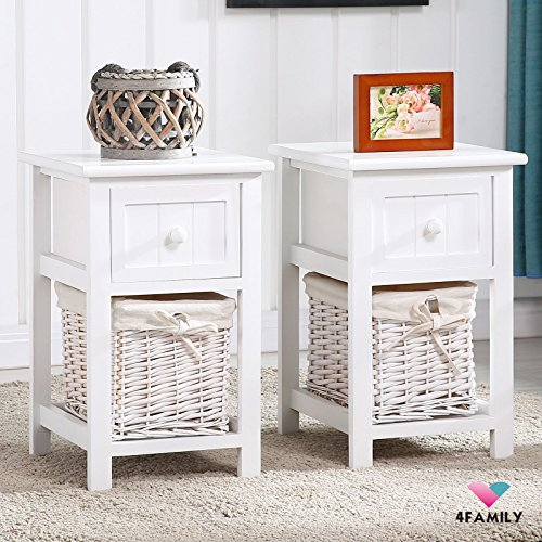 Amazoncom Pair of Retro White Chic Nightstand End Side Bedside