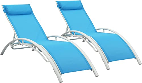 Outdoor Patio 2-Pack Lounge Chairs Adjustable Aluminum Chaise Lounges for All Weather Blue