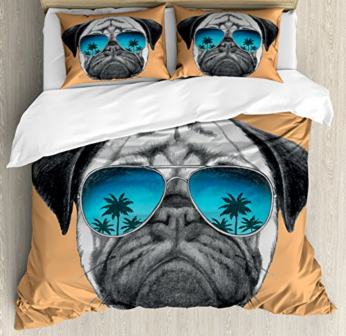 Ambesonne Pug Duvet Cover Set King Size, Dog with Reflecting Aviators Palm Trees Tropical Environment Cool Pet Animal, Decorative 3 Piece Bedding Set with 2 Pillow Shams, Black Orange (3 Piece Set Headboard)