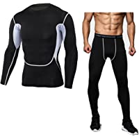PHIBEE Men's Skin Tight Base Layer Compression Moisture-Wicking Long-Sleeve Under Shirt & Legging