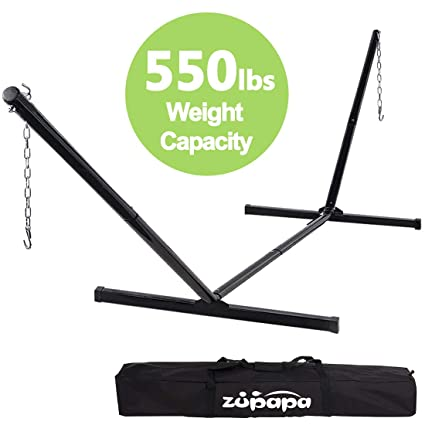 Zupapa 550lbs Weight Capacity Two Point Portable Hammock Stand Only 2 Steel  Chains 1 Carry Bag