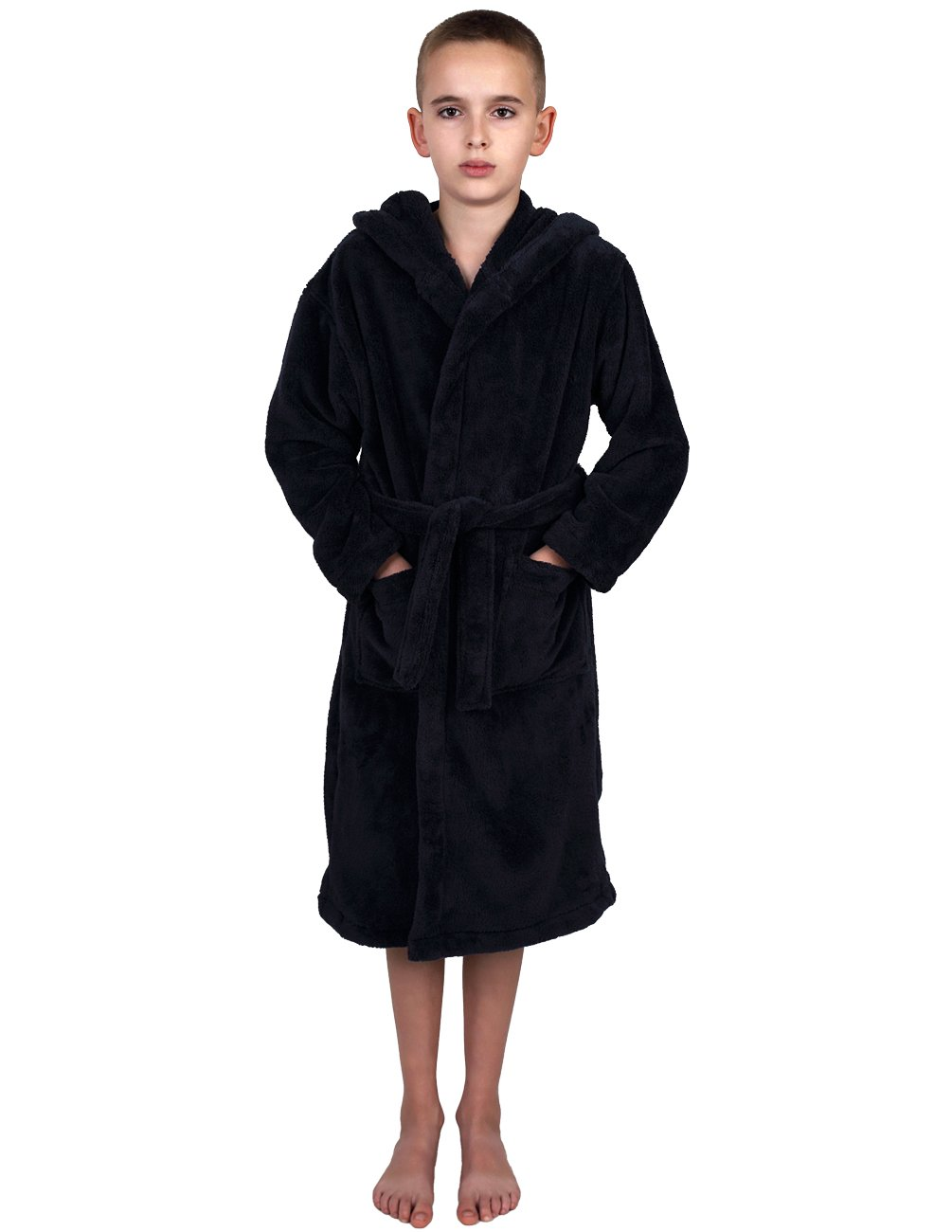 TowelSelections Big Boys' Robe, Kids Plush Hooded Fleece Bathrobe Size 14 Navy