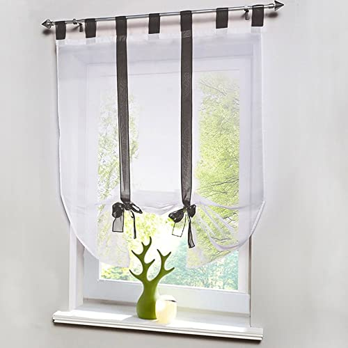 SHZONS 1pc Liftable Organza Kitchen Balcony Curtains,Tie-Up Rod Pocket Roman Window Shades Sheer Voilet Window Vanlance Gray,55.12 x55.12