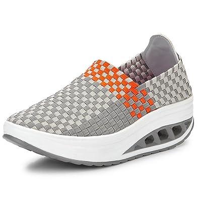 XiaoYouYu Damen Sommer Mesh Sneakers Schuhe Schwarz, EU 35