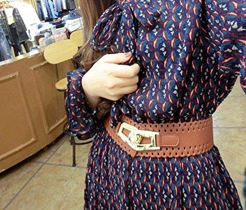 Allungato Donna Vestito Larga Verso Vita Elastica Sigillo Giacca Della Marrone Decorazione Elastico Corpo Basso Dalla Inverno Cinghia Il C5n5aq