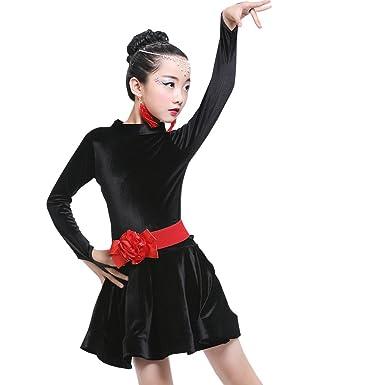 XFentech Kids Girls Long Sleeve Latin Dance Dress Modern Dance Exercise  Performance Competition Costumes d3fd13c59577