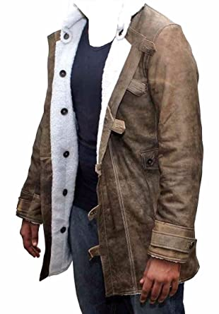 283c3cec6d1b Bestzo Men s Fashion Bane Coat with Shearling Cowhide Distressed Leather  Brown XS
