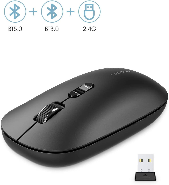OMOTON Ratón Bluetooth Inalámbrico con 3 Niveles dpi Ajustables, 3 Modos Conexión (Bluetooth 5.0/3.0, USB 2.4G), Ratón Inalámbrico para iPad, Windows, Macbook, Negro