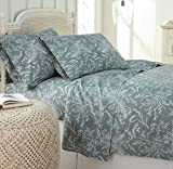 Southshore Fine Linens - Winter Brush Print 4 Piece Sheet Sets, King, Teal Sheets w/ White Flowers