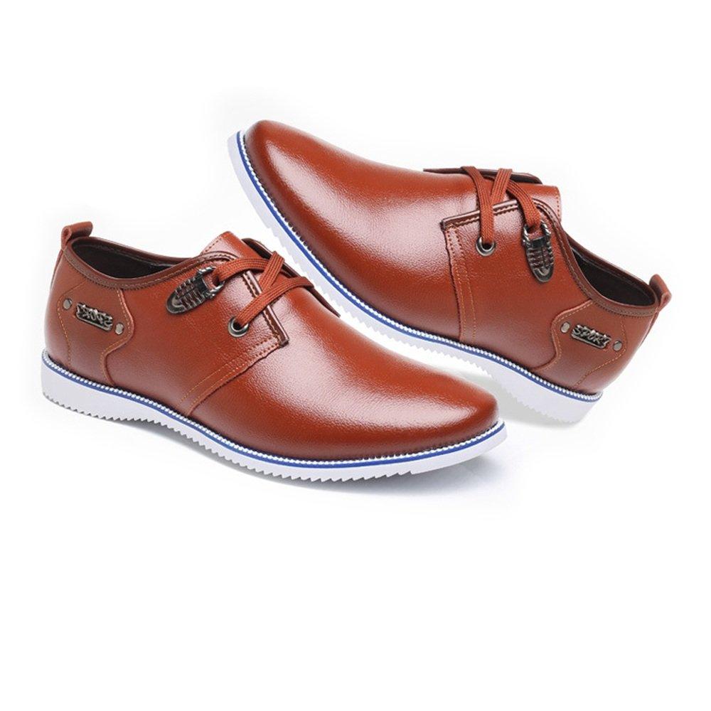 Männer Schuhe klassische Casual & Businessformal Schuhe Männer Matte echtes Leder oberen Lace Up Breathed ausgekleidet Oxfords (Farbe : Braun, Größe : 9MUS) Braun 5c2750