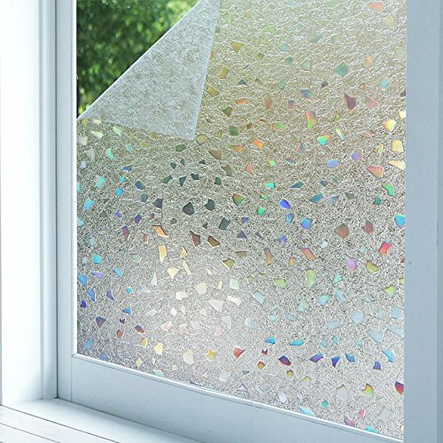 Bloss 3D Static Cling Window Film Stained Glass Window Film Decorative Frosted Window Clings Vinyl Window Covering 17.7Inch x 78.7Inch 1 - Design Blinds