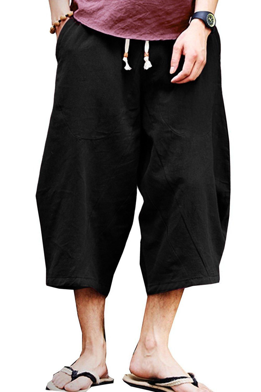 Thrivqyaf Men's Patchwork Shorts Loose Linen Harem Capri Pants with Drawstring (Waist:29''-30'' US S = Asian L, Black)