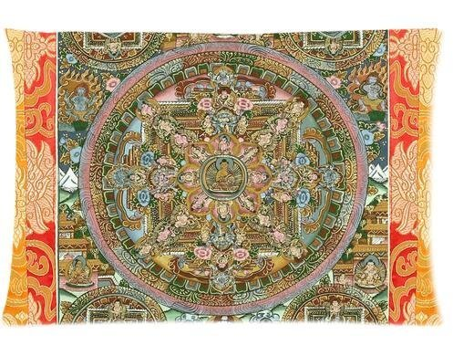 Cool Pillowcase Tibetan Painting Thangka Scroll Mandala Style Pillow Case (Twin Sides)(20x30 Inch) (Jr Twin Chair Cover)
