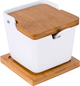Vencer Ceramic Square Sugar Bowl with Sugar Spoon and Bamboo Lid with Bamboo Coaster for Home and Kitchen,Modern Design,White