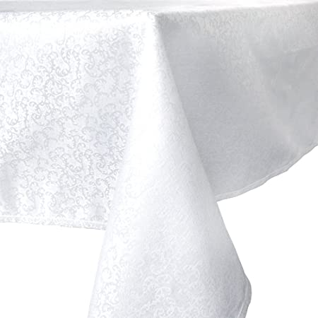 Amazon.com: R.LANG Tablecloth Oval 52 X 70 Inch Spillproof Jacquard  Tablecloth Bleach White: Home U0026 Kitchen