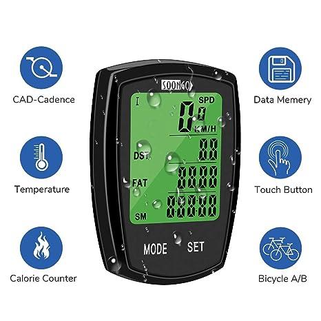 amazon com soon go bicycle speedometer wireless bike computersoon go bicycle speedometer wireless bike computer cadence ipx6 waterproof bike odometer speedometer multi functions
