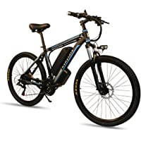"CLIENSY 26"" Electric Mountain Bike with 36V 10Ah Removable Large Capacity Lithium Battery, Electric Bike Shimano 21 Speed Gear and 350W Brushless Motor"