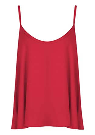 018c443fc6b3a Womens Ladies Plain Sleeveless Swing Vest Strap Cami Camisole Flared Tank  Top - RED - UK 8 10(S M) - (95% Polyester and 5% Elastane)  Amazon.co.uk   Clothing