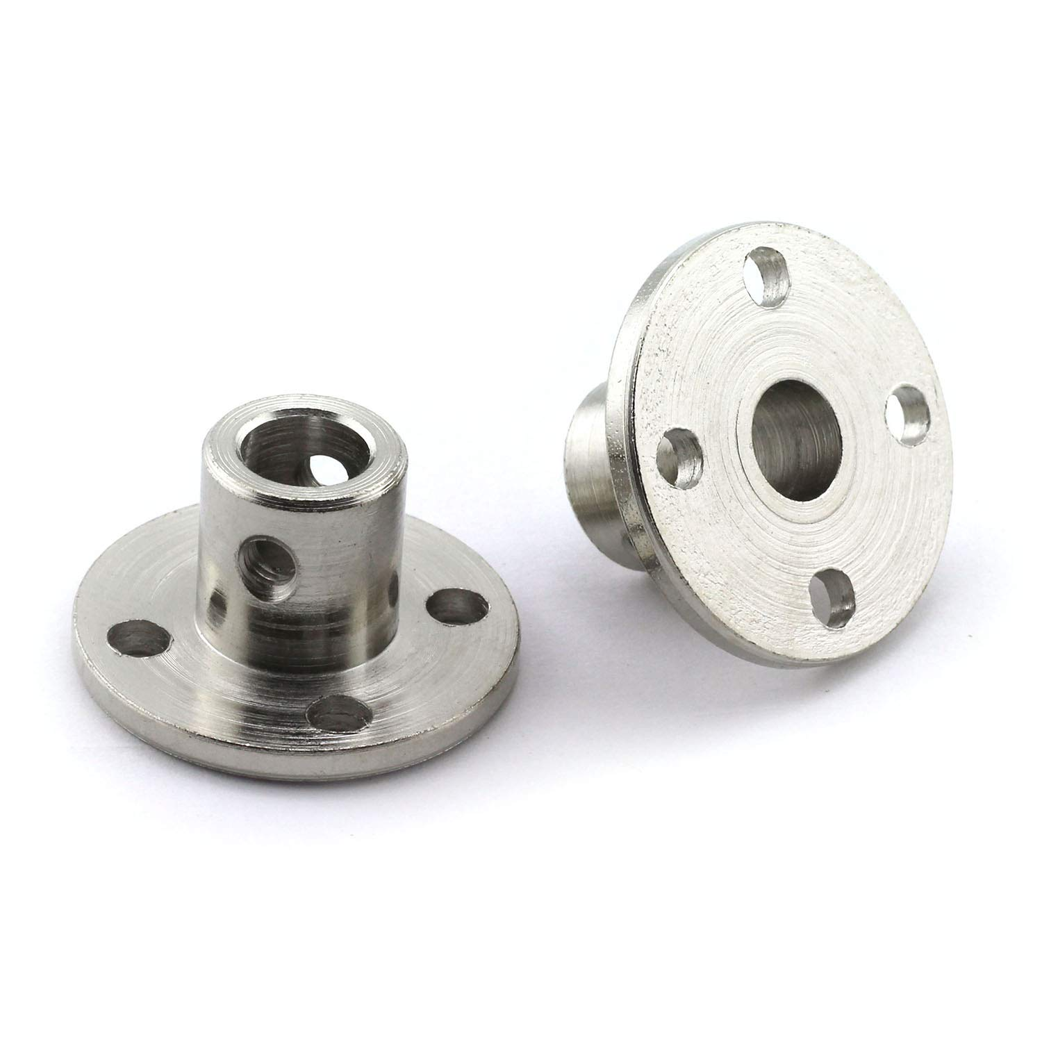2 pcs 6mm Shaft Axis Fittings for DIY RC Model Motors Rigid Guide Steel Model Coupler Accessory 2 Pack 6mm Flange Coupling Connector High Hardness Coupling Connector-Silver.