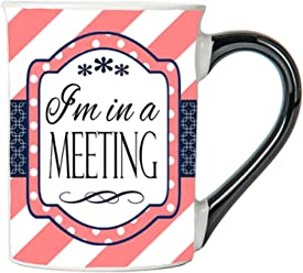 Tumbleweed - I'm In A Meeting - Colorful 18 Ounce Ceramic Funny Coffee Cup - Funny Coffe Mug - Gag Gifts