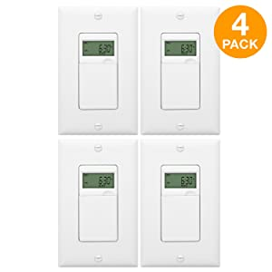 ENERLITES 7-Day Programmable Timer Switch, Timer Light Switch, Digital Timer Light Switch, Programmable Wall Switch for Lights, Fans, Motors, Wall Plate Included, NEUTRAL WIRE REQUIRED; HET01-C 4 Pack