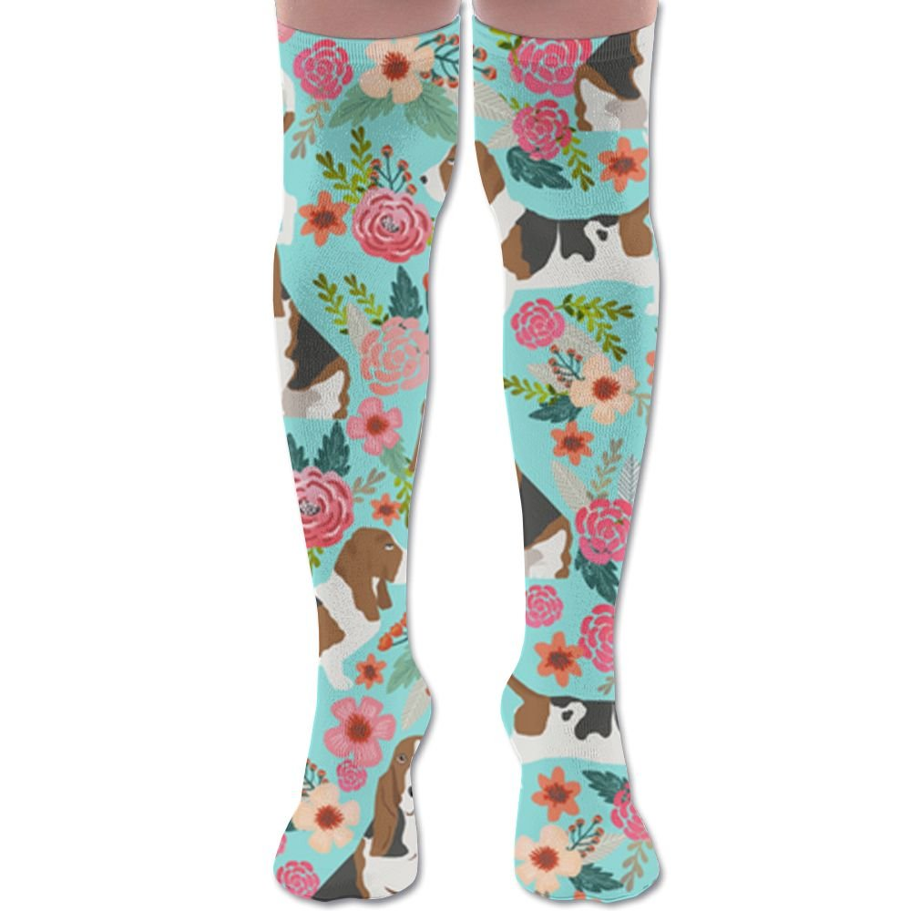 Sweet Basset Hound And Vintage Florals Knee High 60CM Crew Socks yyserhjtytyjk