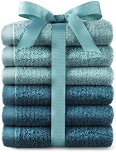 6 Pack Terry Cotton Wash Cloths Rags Orchid Aqua Blue Teal White Gray Green Grey Pink Red Brown Tan Multi Color (Aqua Teal Turquoise)