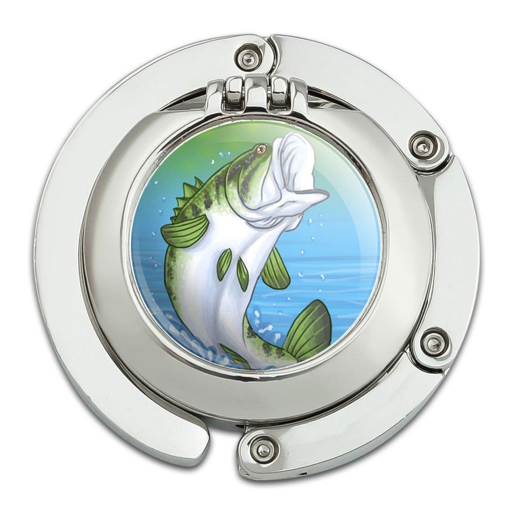 Bass Fish Jumping Water Fishing Foldable Table Bag Purse Caddy Handbag Hanger Holder Hook with Folding Compact Mirror