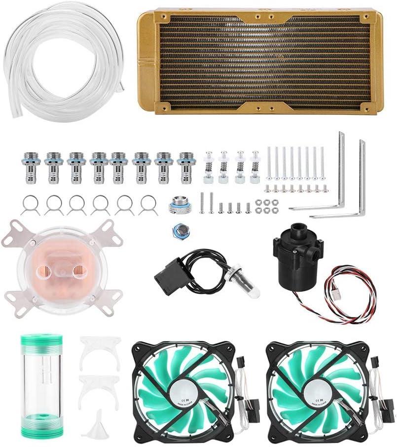 Hakeeta Water Cooling Radiator, for PC Computer Desktop CPU, Universal, Tubing Liquid Cooler Kit, Easy to Install, DIY Kits, High Efficient, Soft Tube, Reservoir Tubing Flowmeter, Green Led Fun
