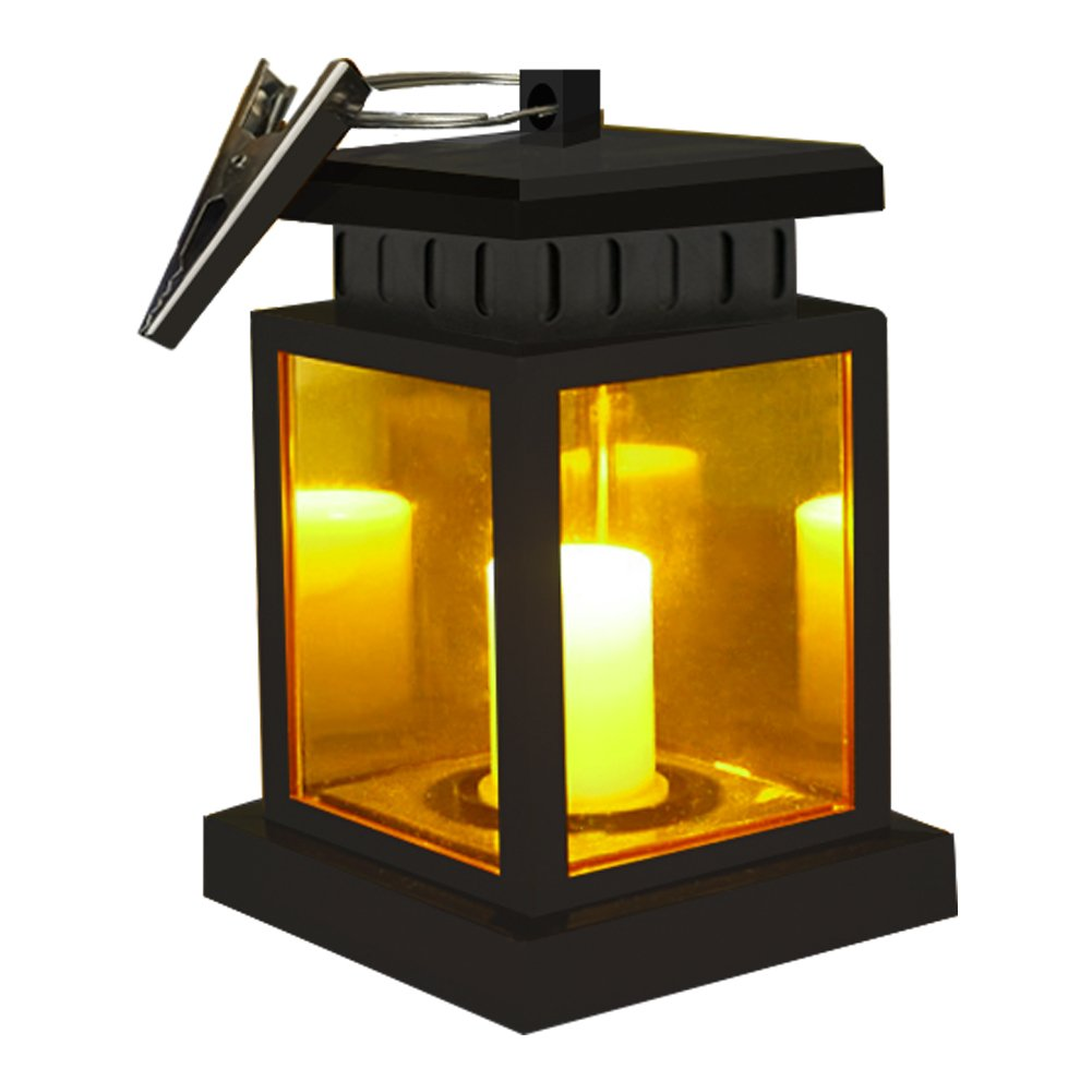 Honor-Y Solar Lights Outdoor Hanging Solar Lanterns 1 Pack, Waterproof Outdoor Hanging Lamp Candle Lantern Lights with Clamp Patio Beach Umbrella Tree Pavilion Garden Yard Lawn (Yellow Light)