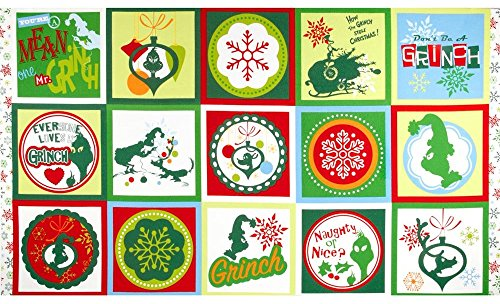 Dr. Suess How The Grinch Stole Christmas Fabric Block Panel - 15 Quilt Blocks (Great for Quilting, Sewing, Craft Projects, Quilt, Pillow & More) 24