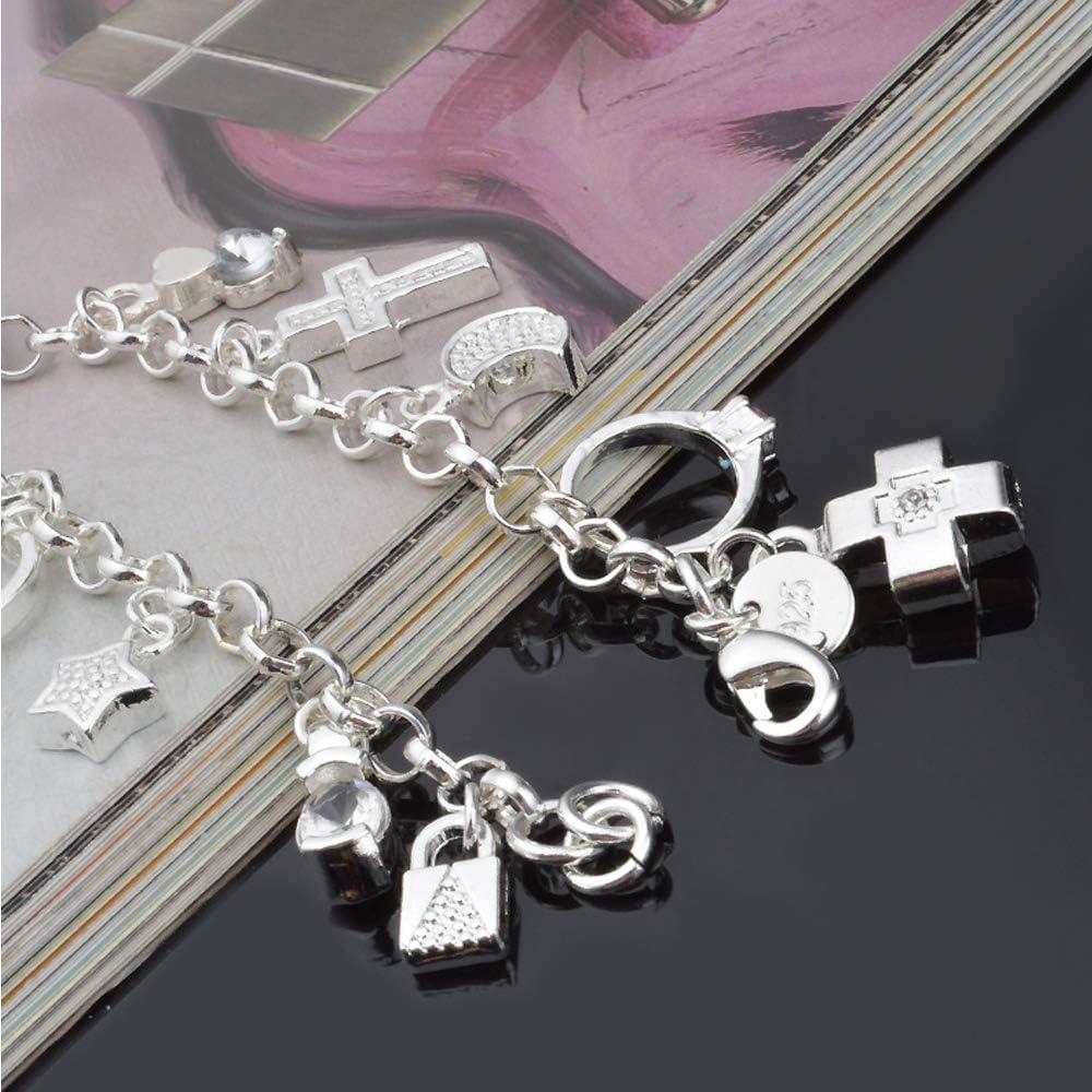 Bracelet tendance pour femme en argent avec traine breloques