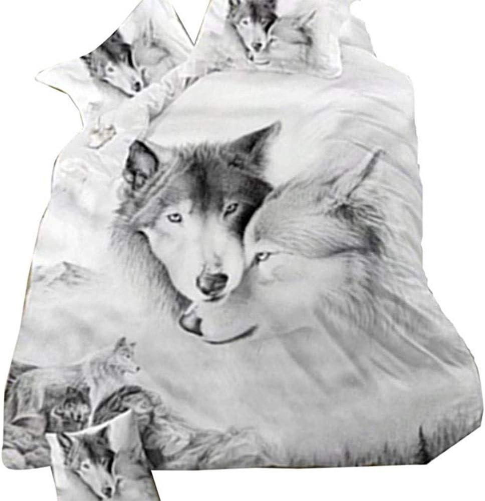 Aoile Parure de lit double avec housse de couette et taies doreiller Motif loup 3D 220 x 240