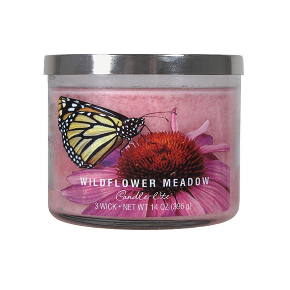 Candle-Lite 3 Wick Candle Jar- Wildflower Meadow (14 Oz) 364717 Candlelite