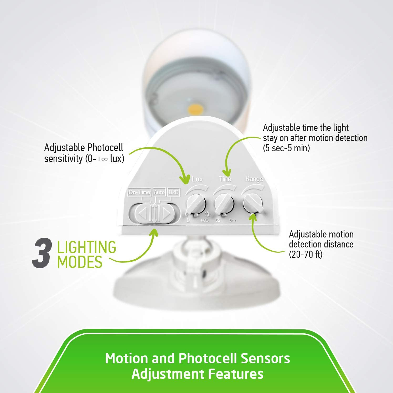 Commercial Grade Daylight White ASD LED Security Light 10W 1 Head with 150/° Motion and PC 5000K DLC Standard