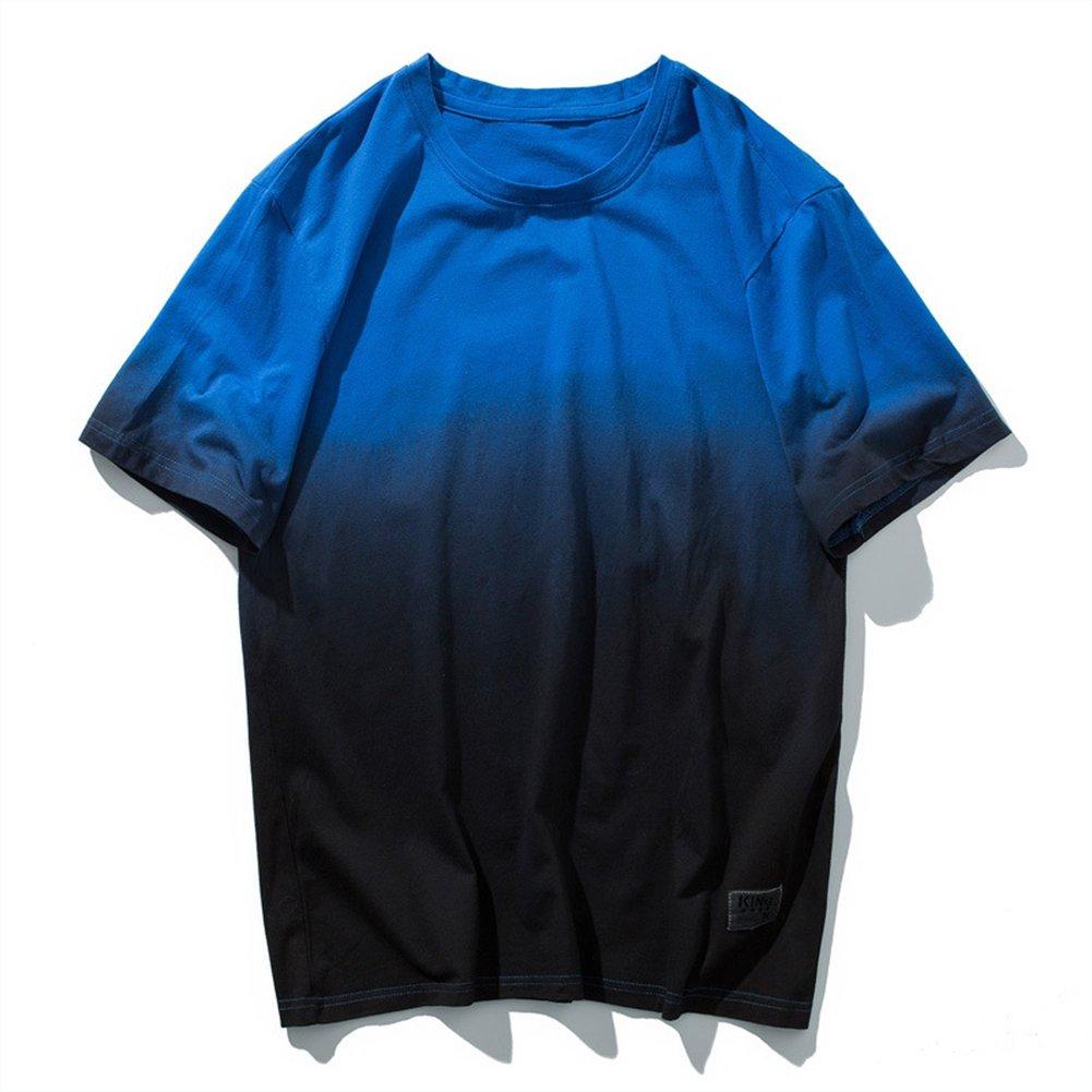 Sport T-Shirt Männer Gradient Baumwolle Kurzarm Breathable Sweat Fitness Reiten Wandern T-Shirt,2,L