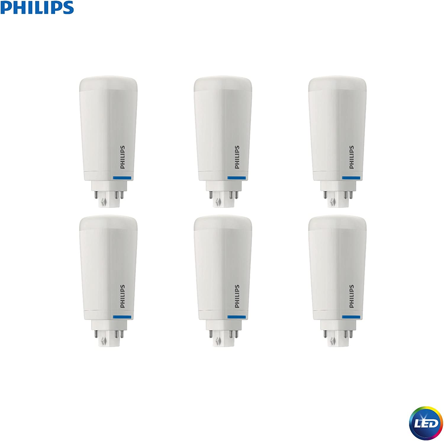 Philips LED 472845 LED Energy Saver PL-C Light Bulb 1300-Lumen, 4000-Kelvin, 10.5 (26-Watt Equivalent), 4-Pin G24Q Base, Cool White, 6 Pack