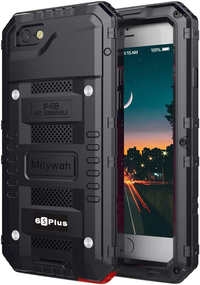 Mitywah iPhone 6 Plus/iPhone 6S Plus Case Heavy Duty Durable Metal Full Body Protective Case Built-in Screen Protection Waterproof Shockproof Dustproof Rugged Military Grade Defender, Black