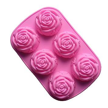 VolksRose molde de silicona para Chocolate, Gelatina Y Candy etc - colores al azar - 6 Rosa Flores: Amazon.es: Hogar