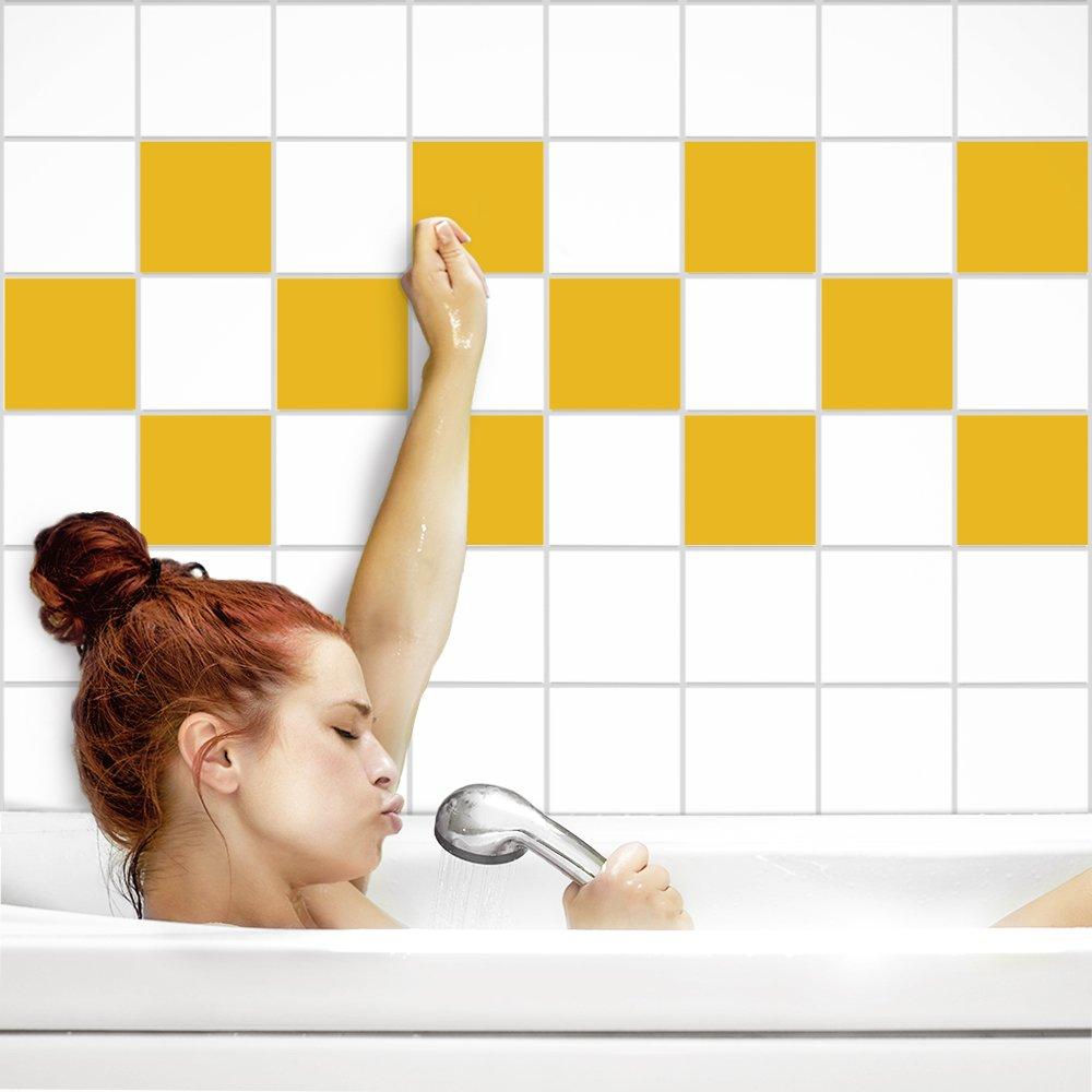 PrintYourHome PrintYourHome PrintYourHome Fliesenaufkleber für Küche und Bad   einfarbig weiß matt   Fliesenfolie für 20x20cm Fliesen   152 Stück   Klebefliesen günstig in 1A Qualität B071ZGM4V8 Fliesenaufkleber fcdefc