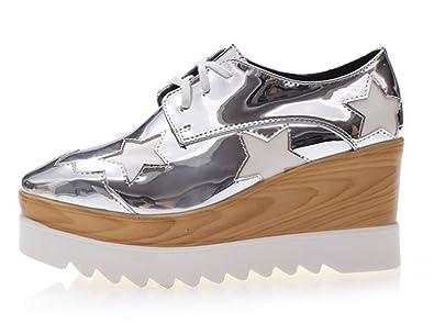 wealsex Chaussure de Ville à Lacets Femme Derby Plateforme Cuir(Argent,40) b377daa73db8