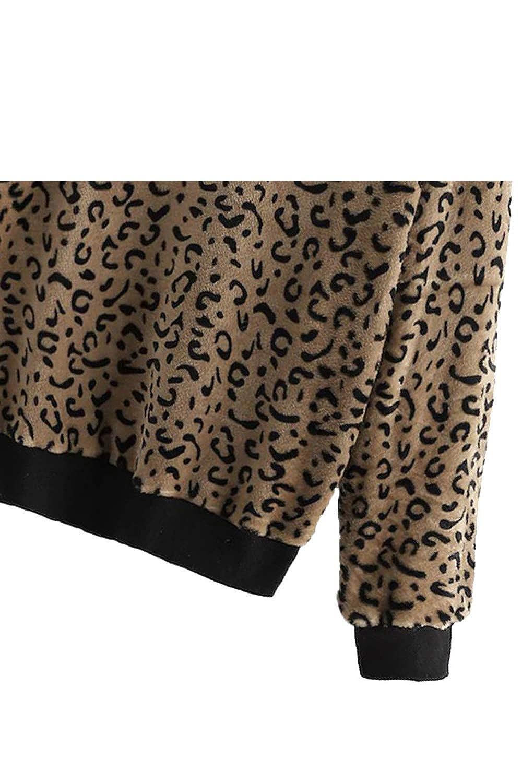 Fasumava Donne Leopardato Felpe Inverno Casual Maglione Peloso al Massimo