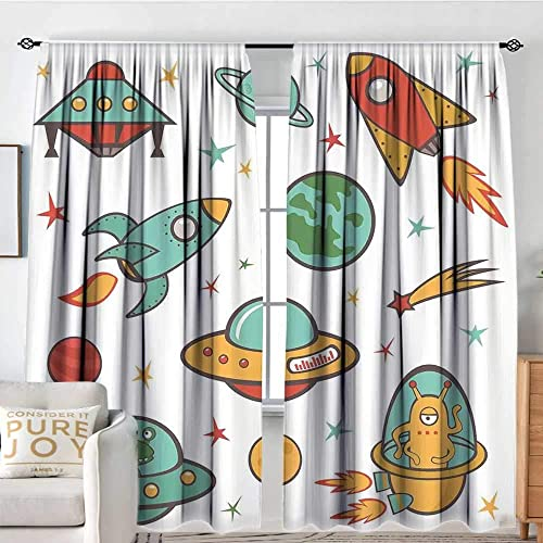 Muyindo Kids Room Bedroom Darkening Curtains Outer Space Theme Rocket Space Ship UFO Stars Planets Alien Earth Saturn Galaxy Print Printed Darkening Curtains W84 x L84 in
