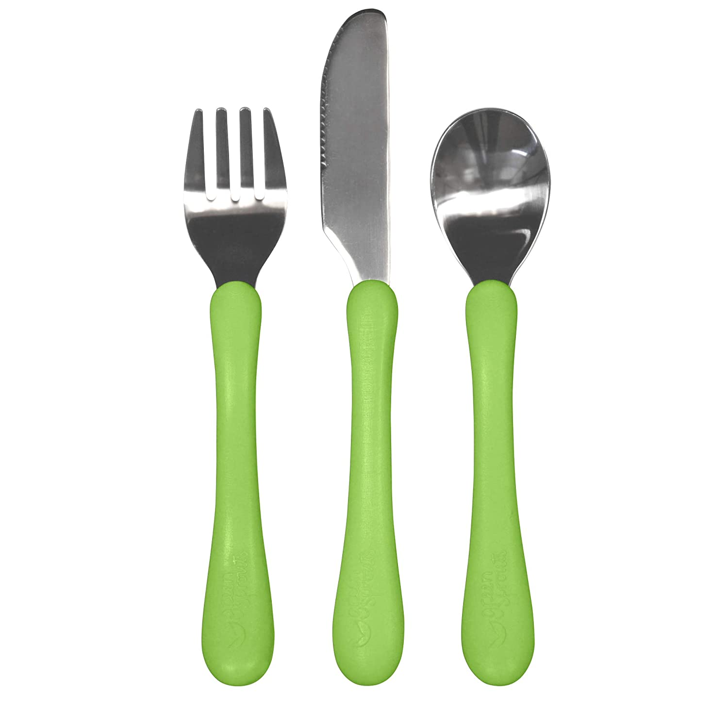 12 to 48 Months, Pink Green Sprouts Learning Cutlery Set