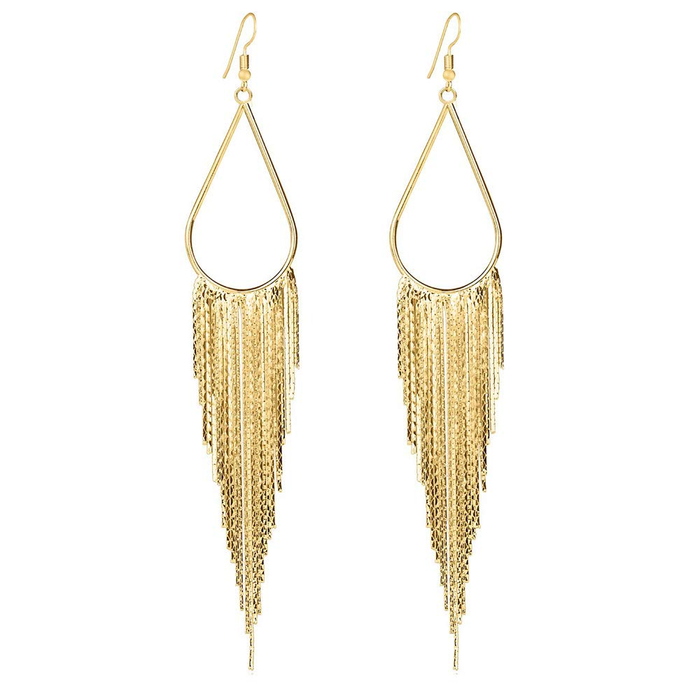 ROCK RARA 1920s Long Chain Tassel Dangle Earrings Flapper Dress Earrings Vintage Drop earrings