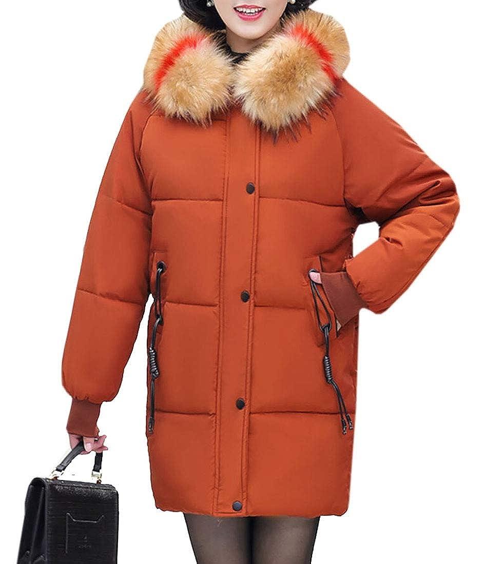 omniscient Mens Plus Size Faux Fur Hooded Long Puffer Jacket Silm Fit Coat