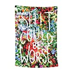 BLEUM CADE Wall Tapestry Flower Tapestry Floral Words Tapestry Wall Hanging Quote Tapestry
